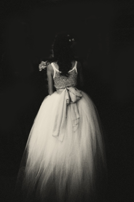 A beautiful detail of this modern vintage wedding dress, tulle and sequins..