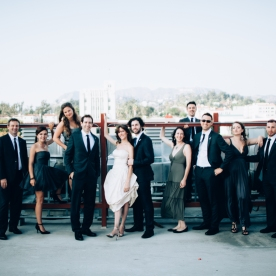 Group photo of the wedding party. The bride and groom wanted something urban and edgy.
