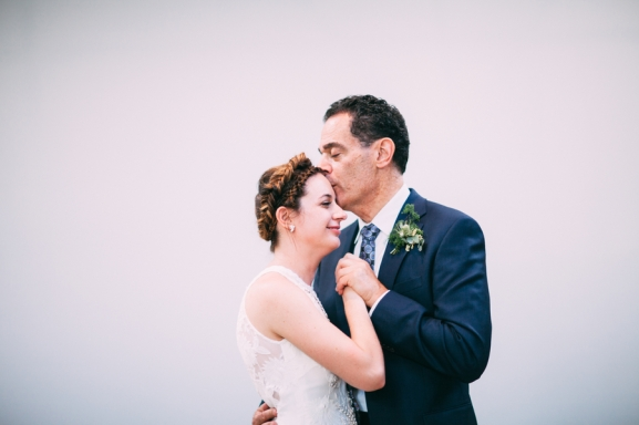 Bride with father photographed by Bright Bird Wedding Photography