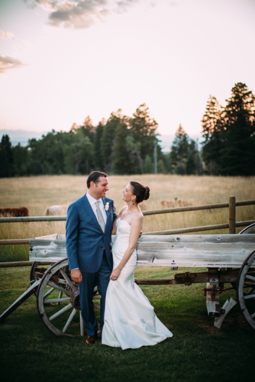bride-and-groom-outside-rustic